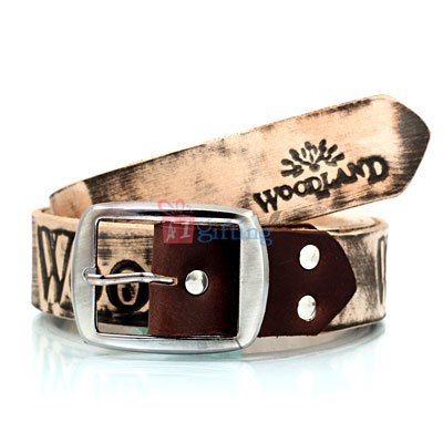 WOODLAND Printed Antique faded Design Leather Belt with round corner