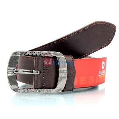 Brown formal genuine leather belt with paradigms buckle