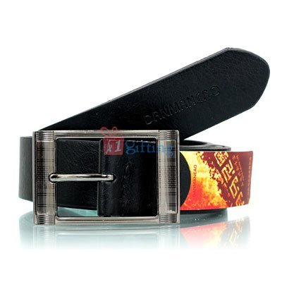 Curved metallic square buckle with royal black textured design belt