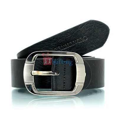 Round corner square stainless steel buckle with Armani textured leather belt