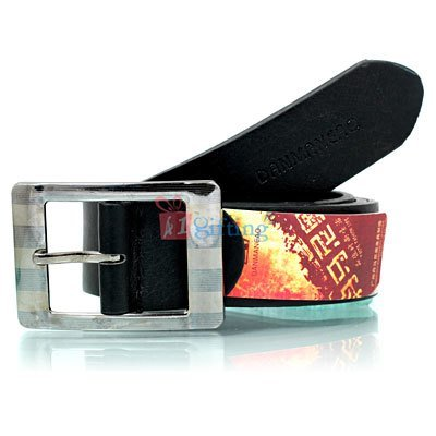 Multi color strips design with genuine danmaneao formal leather belt