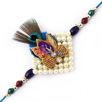 Auspicious pearl Rakhi with peacock feather for Brother