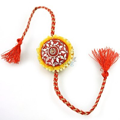 Wonderful Lacquer Glass Pearl Rakhi for Brother