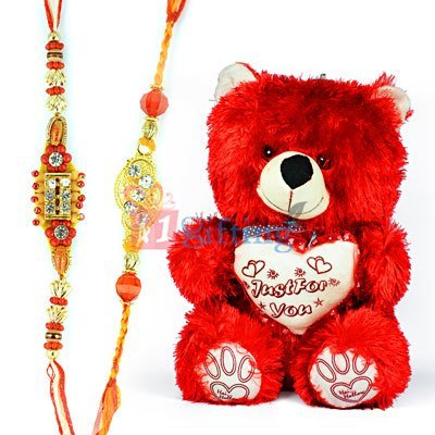 Red Soft Just For You Teddy Bear Toy with 2 Fancy Rakhis