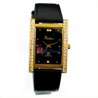 Square Rochees Wrist Watch for Men Leather Strap with Diamond Fitted