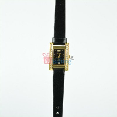 Square Rochees Wrist Watch for Women Leather Strap with Diamond Fitted