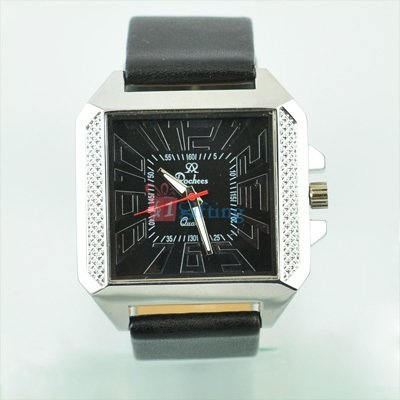 Ruby Square Rochees Wrist Watch for Men Two Tone Leather Strap