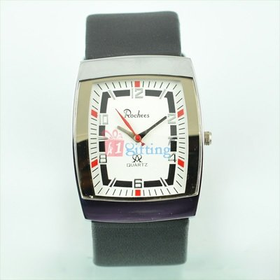 Rochees Ruby Square Wrist Watch for Men with Leather Strap