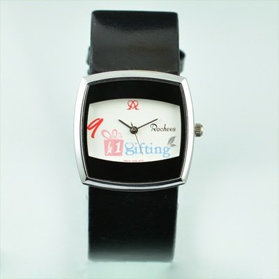 Wrist Watch for Women Rochees Square Two Tone with Leather Strap