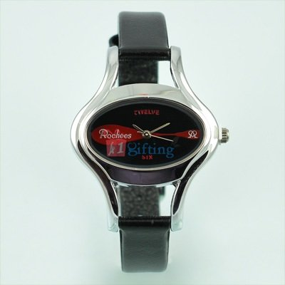 Oval Shape Watch for Women Brand Rochees Silver with Leather Strap