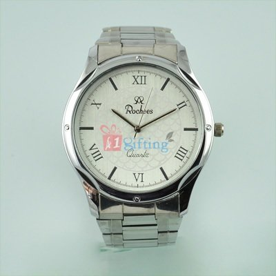 Round Watch for Men Deluxe Bracelet Silver Metal Strap Official Watch