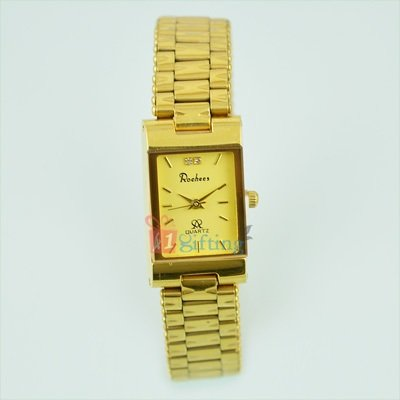 Golden Square Wrist Watch for Women Metal Strap