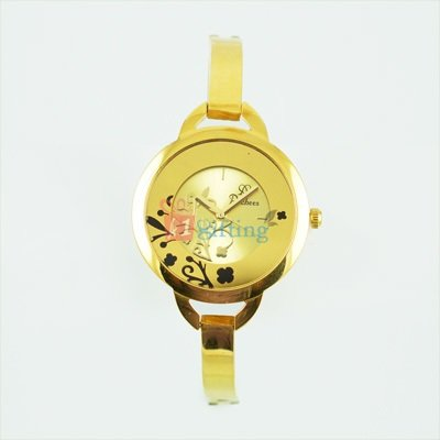 Royal Round Golden Watch for Women with Bracelet Strap