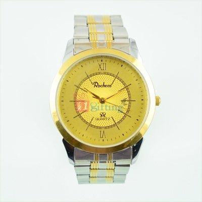 Steel Golden Watch for Men Royal Look Metal Strap
