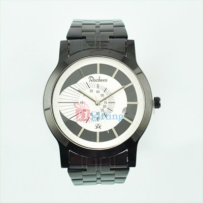 Royal Black Metal Strap Watch for Men Sporty Look