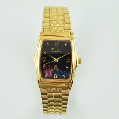Fancy Square Golden Watch for Men Metal Band